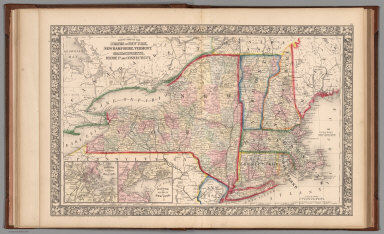 County map of the State of New York, New Hampshire, Vermont. Massachusetts, Rhode Id. Connecticut
