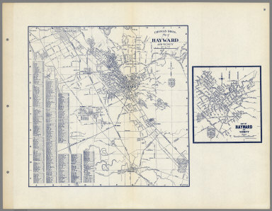 Thomas Bros. Map of Hayward and Vicinity. San Lorenzo. Russell City. Mt. Eden. Alta Vista, California.