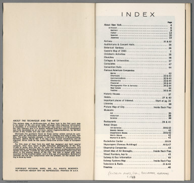 Index Page: New York (City). Picture Map in Full Color.
