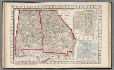 County Map of the States of Georgia and Alabama.