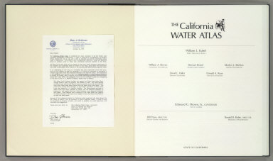 Letter Insert and Title Page: The California Water Atlas.