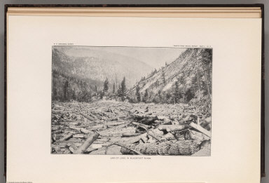 View: Plate II. Jam of Logs in Blackfoot River.