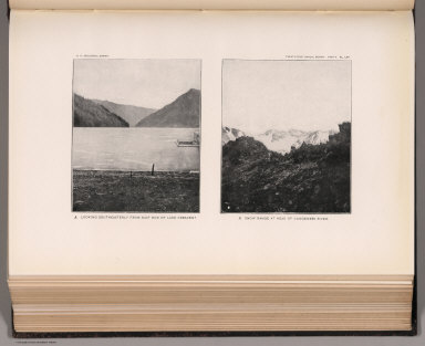 View: Plate LXII. Southeasterly from East End of Lake Crescent. Snow Range at Head of Dungeness River.