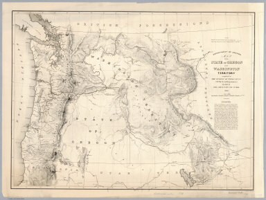 Department of Oregon. Map of the state of Oregon and Washington Territory