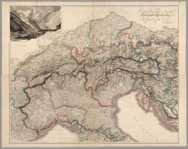 Composite: Map of the Alpine Country in the South of Europe.