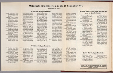 Text: Report Nr. 1 on World War I, Military Events of the Week ... to 23 September 1914.