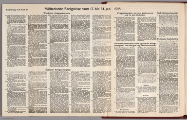 Text: Report Nr. 17 on World War I, Military Events of the Week ... to January 24, 1915.