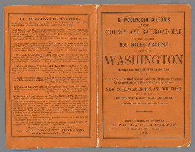 Covers: G. Woolworth Colton's map of the country 500 miles around the city of Washington