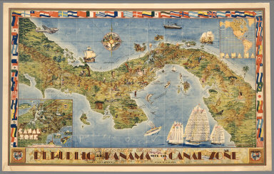 Pictorial Map of the Republic of Panama with the Canal Zone.