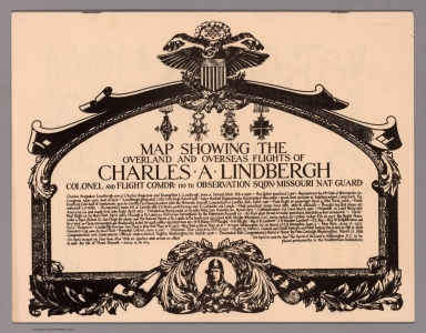 Covers: Map Showing the Overland and Overseas Flights of Charles A. Lindbergh