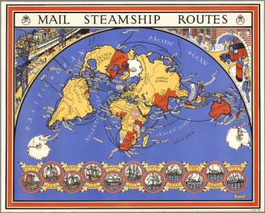 Mail steamship routes. MacDonald Gill, 1937. P.R.D. 182.