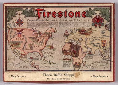 Covers: Firestone Reaches Around the World to Give Most Miles per Dollar. Map Puzzle.