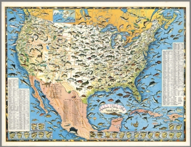 Sportsmen's Fishing Map of the United States and Neighboring Waters.