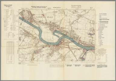 Street Map of Newcastle, England with Military-Geographic Features. BB 3a.