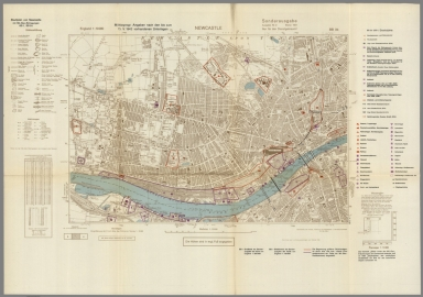 Street Map of Newcastle, England with Military-Geographic Features. BB 3b.