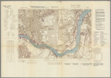 Street Map of Newcastle, England with Military-Geographic Features. BB 3c.