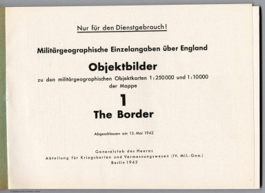 Title: Images of the Military-Geographic Objectives on Maps for The Border, Scotland-England.