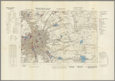 Street Map of Accrington, England with Military-Geographic Features. BB 9f.