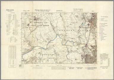 Street Map of Burnley, England with Military-Geographic Features. BB 9a.