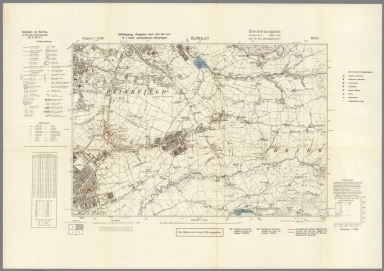 Street Map of Burnley, England with Military-Geographic Features. BB 9b.