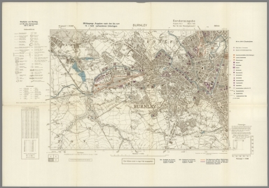 Street Map of Burnley, England with Military-Geographic Features. BB 9c.