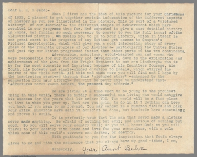 Letter to L.M. & Jake from Aunt Belva