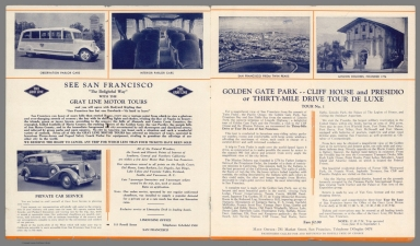 """Title Page: Seeing San Francisco : """"The delight way"""" with the Gray Line Motor Tours. Golden Gate Park -- Cliff House and Presidio"""