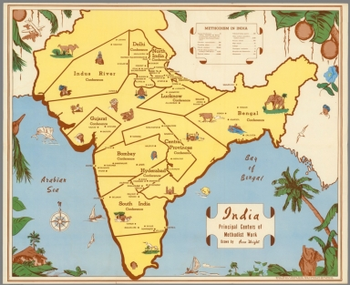 India, Principal Centers of Methodist Work. Drawn by Anne Wright.