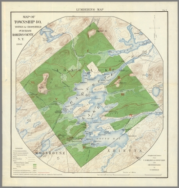 Lumbering Map. Map of Township 40, Totten and Crossfield Purchase, Hamilton County, N.Y.