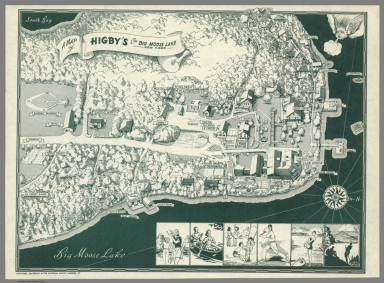 A map of Higby's on Big Moose Lake, New York