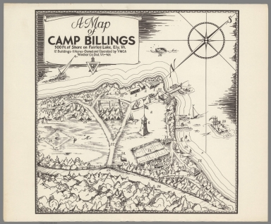A map of Camp Billing. 500 Ft. Shore on Fairlee Lake, Ely, Vt