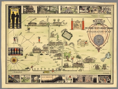 The Connecticut College for Women. A decorative map