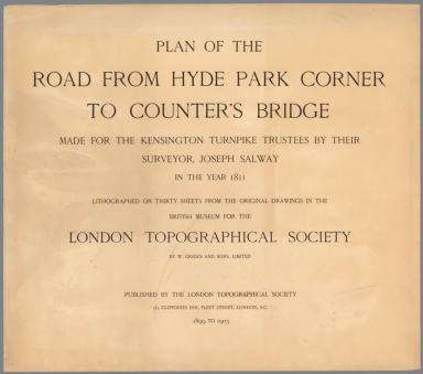 Title: Plan of the Road from Hyde Park Corner to Counter's Bridge.