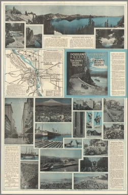 Text: Portland Oregon Featuring the Columbia River Highway. Portland Chamber of Commerce ....