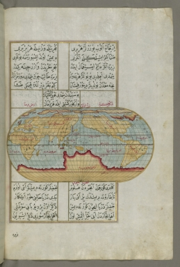fol. 23b Oval map of the world with the Pacific Ocean in the center