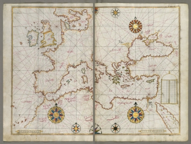 fol. 63b and 64a Western Europe, North Africa, Mediterranean, the Aegean, and the Black Sea