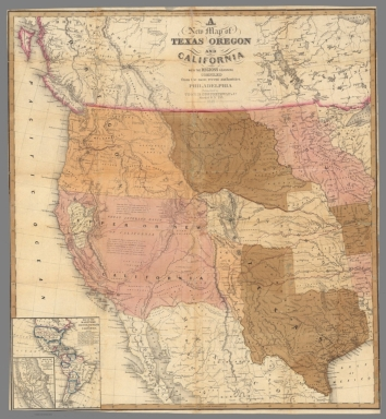 A New Map of Texas Oregon and California With The Regions Adjoining.