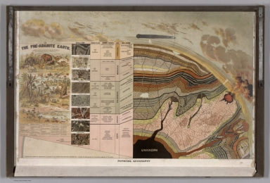 """Physical Geography. (Flap open showing typical geologic structures and life on the """"Pre-Adamite Earth"""")."""