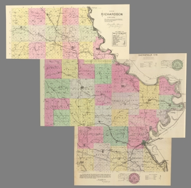 Composite: County maps of Richardson county in Nebraska, and Doniphan, Brown, and Atchison counties in Kansas.