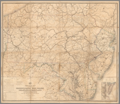 Composite Map: Post Route Map of Pennsylvania, New Jersey, Delaware, Maryland and District of Columbia.