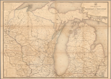 Post Route Map of States of Michigan and Wisconsin.