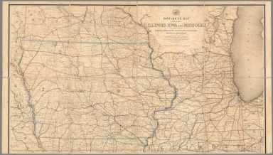 Upper Part. Post Route Map of States of Illinois, Iowa and Missouri.