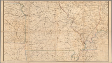 Lower Part. Post Route Map of States of Illinois, Iowa and Missouri.