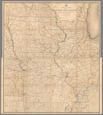 Composite Map: Post Route Map of States of Illinois, Iowa and Missouri.