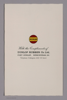Frontispiece: With the complements of Dunlop rubber Co. Ltd.