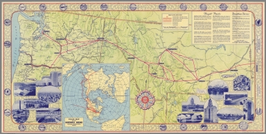 Side 2: Northwest Airlines route map of the Middle West