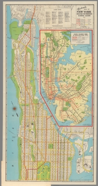 Nostrand's map of New York house numbers and subway guide. Upper index