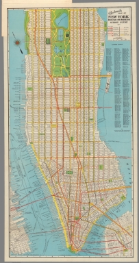 Nostrand's map of New York house numbers and subway guide. Lower index