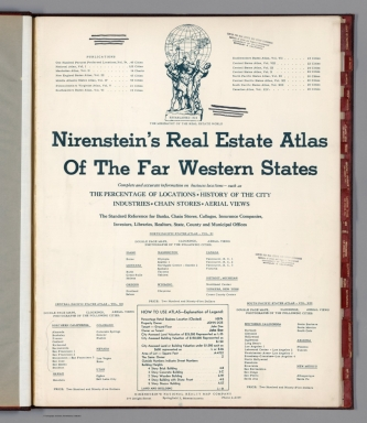 Title Page and Legend: Nirenstein's Real Estate Atlas Of The Far Western States ... Central Pacific States, Vol. XII.