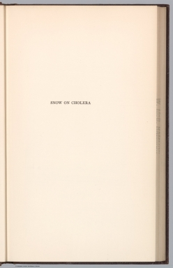 Title Page: Snow on Cholera